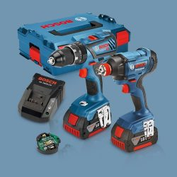 Toptopdeal-Bosch 18V Li-Ion Bluetooth Combi Drill & Impact Driver Twin Kit With 2 X 5 Ah Batteries &