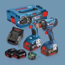 Toptopdeal-Bosch 18V Li-Ion Combi Drill & Impact Driver Twin Kit With 2 X 5 Ah Batteries & Charger I
